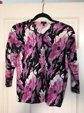 Bright & Happy Talbots Petite Floral Black/Fuschia 3/4 Sleeve Sweater Size