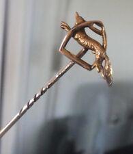 Atractivo 14 CT Oro Broche/pin de palo 1930s que ejecuta Fox y Estribo/Caza