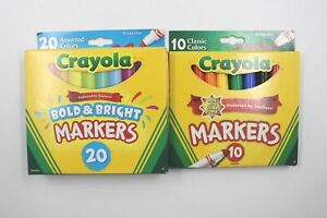 Crayola Broad Line Markers Classic Bold Bright Non-Toxic School Supplies 30