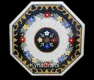 30 x 30 Inches Marble Dining Table Top Marquetry Art Patio Table for Home Decor