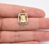 """1"""" Jesus Head Anchor Medallion Frame Pendant Real SOLID 10K Yellow White Gold"""