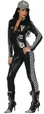 Sexy Faux Leather PVC Formula Motor Racing Bodysuit Jumpsuit Costume Size 10-12