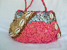 Mido Collection Seashell Bead Handbag Purse Hot Pink MOP Sea Shell