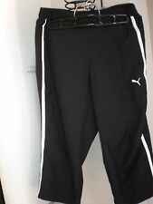 PUMA LADIES WORK OUT SHORTS BLACK WITH WHITE TRACK CAPRI PANTS ATHLETIC PANTS