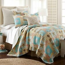 COASTAL STARFISH SEASHELLS QUEEN QUILT SET TEAL AQUA RUST TROPICAL BEACH OCEAN