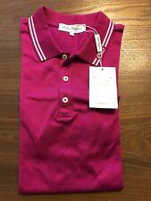 New Authentic Salvatore Ferragamo Men's Polo Contrast Logo Fuchsia M $280