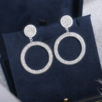 Hoop Earrings for Women Silver,Gold,Rose Gold White Sapphire Jewelry 1 Pair/set