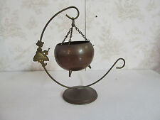 Mini Brass Hanging Planter Adorned with Dutch Girl w/ Watering Can Made in India