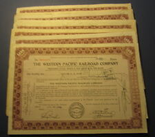 Lot of 50 Old 1940's WESTERN PACIFIC RAILROAD - Stock Certificates - Preferred