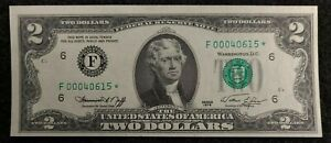 1976 $2 FRN Error, low serial #,  star note L 00040615 * STAR NOTE WITH ERROR