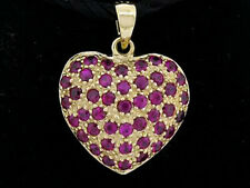 P043 Genuine 9K Yellow, Rose,White Gold NATURAL Ruby Pave Heart Love Pendant