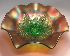 Northwood Grapes Emerald Green Center Iridescent Carnival Glass Dish Nice Color