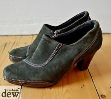 CLARKS heels army green BROGUE suede PATENT SHOE BOOTS 1930's 40's vintage 5.5