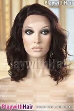 Wavy 100% Brazilian Remy Human Hair Lace Front Wig Silk Top Mono Natural Black B