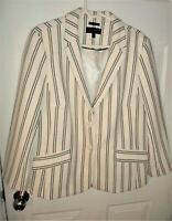Talbots Aberdeen 16 White Navy Striped Textured 2-Button Blazer Jacket BRAND NEW