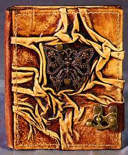 Notizbuch Leder Schmetterling Tagebuch mit Verschluß Lederbuch Diary Poesiealbum