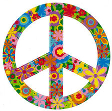 Hippie Flower Peace Sign - Bumper Sticker / Decal