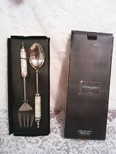 Cynthia Rowley Capiz Shell/Abalone/Mother of Pearl Serving Spoon and Fork NIB