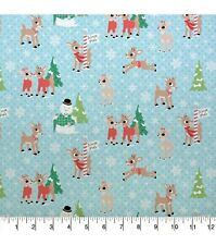 RUDOLPH RED NOSED REINDEER SNOWMAN  PRINT 100% COTTON FABRIC  BY THE 1/2 YARD