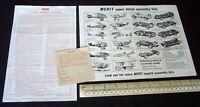 Merit (Randall) Maserati Racing Car Kit Instruction Sheet + Catalogue c1959.