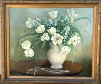 Vintage Framed Floral Still Life Oil Painting, Signed M.Y. Edwards 1940's-1950's