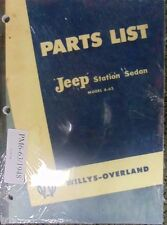 Jeep Station Sedan Model 6-63 Willys-Overland Parts List New Re-print