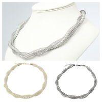 Halskette Netzschlauch Strass und Perlen Kette