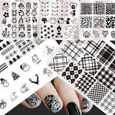 5Pcs Nail Art plaque de Stamping  à motif de chat hibou/kit de tampon