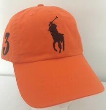 Polo Ralph Lauren Hat Baseball Cap~Orange Peel~Leather Strap~Large Navy Logo~NWT