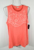 Lucky Brand Women's L Orange Red Embroidered Sleeveless Top Blouse Shirt NWT