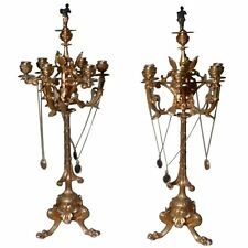 Palatial French Gilt Bronze Candelabra with Musician Snuffers, circa 1830