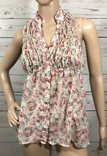 Womens Small Heart Soul White & Pink Floral Ruffle Sleeveless Button Down Blouse