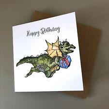 Illustrated Dinosaur Birthday Card Excitable Edgar Personalisation