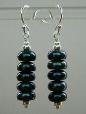 Peacock Black Freshwater Pearls AA-Grade & 925 Sterling Silver Handmade Earrings