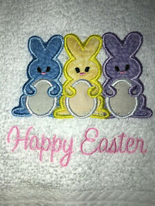 Appliqued Embroidered Bathroom Hand Towel Happy Easter wih Peeps Bunnies