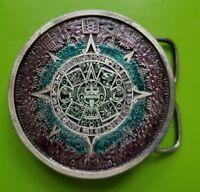 Vintage 1974 Bergamot Brass Works Aztec Calendar Belt Buckle Enamel E48 Detailed