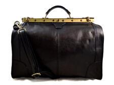 Borsone viaggio in pelle doctor bag con manici e tracolla borsa pelle nero