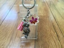 OWL KEY CHAIN HAND MADE WITH REAL FLOWERS AND TASSLE