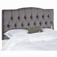 Headboard  Crush Velvet-BUTTONS DEWSBURY STYLE ALL SIZES & Many Colours avaiable
