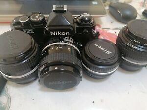 Nikon FE2 black, Near Mint With 5 Of Best Nikon Classic Glass & More