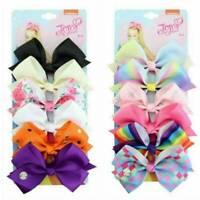 JOJO SIWA 6 Pcs Rainbow Printed Knot Ribbon Bow Hair Chip Pin For Kids Girls Set