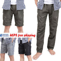 Mens Quick Dry Zip Off Convertible Pants Shorts Outdoor Hiking Loose Trousers US