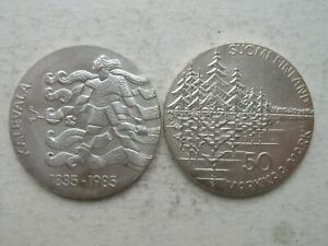 Finland Silver 50 Markkaa 1985 Kalevala  UNC   !!!
