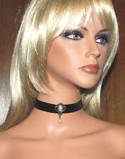 Halsband Kropfband Choker Samt 20 mm Camee schwarz Dirndl gothic Perle NEU