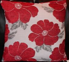 "Poppy Red White Silver Chenille Thick Cushion Cover 18"" - 45cm"
