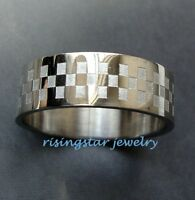 Men CheckerBoard Stainless Steel Stylish 8mm Fashion Ring Size 9,10,11,12,14