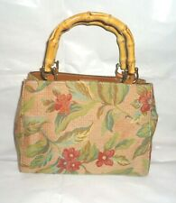 Fossil Handbag tote Purse floral tapestry/needlepoint  with Bamboo handles.