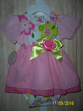NWT STEPHAN BABY 0-3 months BOUTIQUE CHIFFON FLOWER DRESS Free Shipping