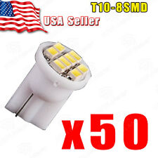 50PCS Pure White T10 Wedge 8-SMD LED License Plate Dome Map Interior Light bulb