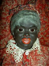 Incredible, Black antique papiermache (S&H portrait) doll, Glass eyes, all orig.